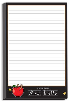 "Personalized Note Pads  Ink Color Shown: White  Paper As Shown: White   Dimensions: 8.5"" x 5.5""      What a great personalized teacher gift! Show ..."