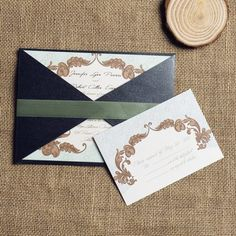 vintage boho theme ribbon pocket wedding invitation set EWPI105 as low as $1.69 |