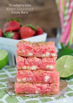 Have you ever seen anything so gorgeous as these Strawberry Lime Gooey Bars from Mom on Timeout?!