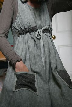 Refashioning an old large dress to a more fitted dress with pockets by Kate Davies Designs. No tutorial but she gives a brief how-to #Sew #RefashionforWomen