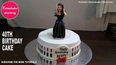 40th makeup lipstick selfie theme birthday cake for women ladies female ...