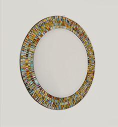 Miroir rond en mosaique de verre fait main en indon sie for Miroir rond mosaique