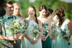ceremony emotions | #bridesmaiddress #mismatcheddress #mismatchedbridesmaid #mint #teal #turquoise #aqua #peacock #naturalbouquet #lavendarbouquet #babysbreathbouquet #rusticromance #barnwedding #outdoorwedding | photos by April Bennett Photography @April Bennett Photography