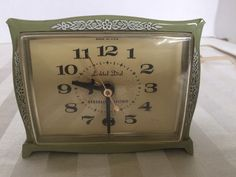 Vintage General Electric Lighted Dial Alarm Clock Green Model 7334K Mid Century #GeneralElectric