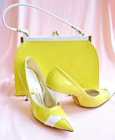 1950's Yellow Patent Purse and Heels Sz 7 by ViasVintage on Etsy,  When you pocketbook and shoes Had to match