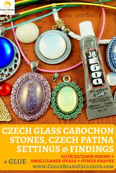Czech Glass Cabochon Stones, Czech Patina Settings And Findings Popular Sizes & Designs! Sizes:10/18/20/25mm Round  + Small/Large Ovals + Other Shapes! - Buy now with discount!  Hurry up - sold out very fast! www.CzechBeadsExclusive.com/+cabochon SAVE them! #czechbeadsexclusive #czechbeadsdisc