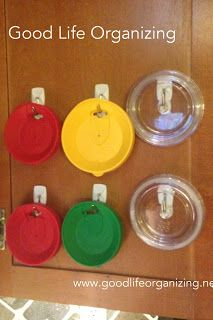 Use Small Wire Command Hooks To Store Cup Lids on Inside of Cabinet Door... very smart!