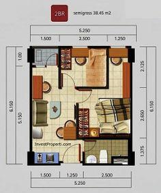 Tipe unit 2 Kamar Tidur Apartemen Kota Ayodhya 2 Bed House, Tiny House, Lofts, Apartment Floor Plans, Property Real Estate, Granny Flat, Small House Plans, Bachelor Pads, The Unit