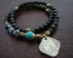 Items similar to 108 bead necklace, rudraksha, genuine turquoise, and Tibetan capped Turquoise guru bead on Etsy