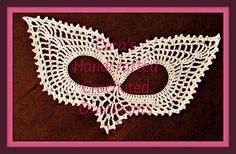 Lacy Crocheted Mask Crochet Pattern by Heritage Heartcraft Crochet Butterfly, Crochet Flower Patterns, Crochet Motif, Crochet Flowers, Crochet Buttons, Thread Crochet, Crochet Stitches, Foundation Single Crochet, Crochet Mask