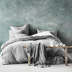 Surround yourself with minimalist style with the Maison Fringe Quilt Cover, Smoke from Aura by Tracie Ellis.