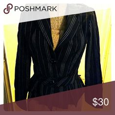 Pin striped Suit jacket by No Boundaries size M Black suit jacket with pink and white pin striping. Polyester and rayon. No Boundaries Jackets & Coats Blazers