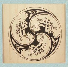 Keltische Cat Spirale Stempel Knotwork Trio #374