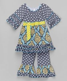 Look what I found on #zulily! Gray & Yellow Damask Peasant Top & Pants - Toddler & Girls #zulilyfinds