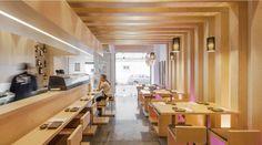 Sushi Pearl by PLAN Associated Architects, Faro Portugal restaurant Japanese Restaurant Interior, Modern Japanese Interior, Restaurant Interior Design, Modern Interior Design, Restaurant Interiors, Design Blog, Cafe Design, Sushi Bar Design, Visual Merchandising