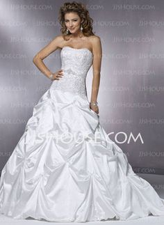 Wedding Dresses - $219.99 - Ball-Gown Sweetheart Chapel Train Satin Wedding Dresses With Lace  Beadwork (002000432) http://jjshouse.com/Ball-gown-Sweetheart-Chapel-Train-Satin-Wedding-Dresses-With-Lace--Beadwork-002000432-g432