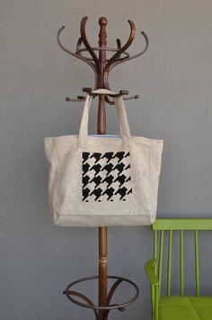 Houndstooth handbag, Diaper bags, Beige handbag, Carry on handbag, Shopping bag, Eco friendly tote, Market bag, Womens work bag, Teacher bag