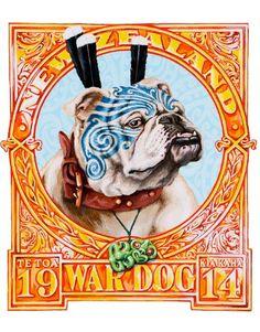 Signed edition of Lester Hall's War Dog print on sale at NZ Fine Prints. Bulldog Tattoo, Zealand Tattoo, Let's Make Art, Maori Designs, Tattoo Designs, New Zealand Art, Nz Art, Maori Art, War Dogs