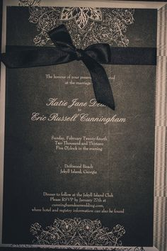 Black with white lace invites