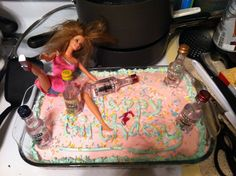 Drunk Barbie cake my girlfriend made for her friends 21