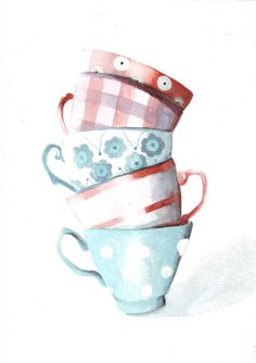 Original watercolor painting Coral and Teal Teacup Tower art    Size: 148 x 210mm (5.8 x 8.3) - please note that other sizes are available and can be