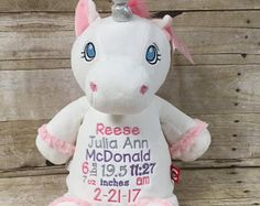 Birth announcement stuffed animal embroidered stuffed animal birth stat stuffed animal personalized baby gift personalized unicorn embroidered unicorn kids negle Choice Image