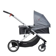 phil&teds voyager adaptable modular stroller lie flat position charcoal grey