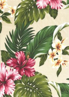 20naholo Birds - Bird of Paradise, hibiscus, ginger with orchid flowers, cotton vintage Hawaiian apparel fabric. by Barkcloth Hawaii Fabrics...