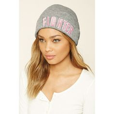 Forever21 Brest Cancer Awareness Beanie (11 AUD) ❤ liked on Polyvore featuring accessories, hats, beanie cap, fold beanie, brimmed beanie, brimmed beanie hats and patch hat