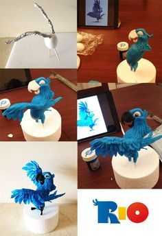 I believe this is fondant but it could be done in Polymer. Fondant Toppers, Fondant Cakes, Cupcake Cakes, Cake Topper Tutorial, Fondant Tutorial, Rio Cake, Cake Structure, Gravity Cake, Fondant Animals