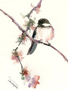 watercolor art Chickadee one of a kind watercolor painting, bird art, nursery art children room chickadee illustration wall art songbird by ORIGINALONLY on Etsy