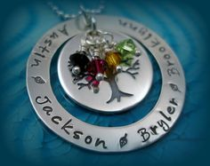 Hand Stamped Jewelry - Personalized Necklace - Sterling Silver - Family Tree - Birthstone Necklace by Tiny Tokens. $90.00, via Etsy.