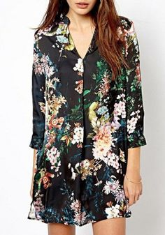 Multicolor Floral V-neck Nine's Sleeve Cotton Blend Blouse The color is great. However, I would prefer a top that is more fitted, which would look better tucked in or with a belt. The loose silhouette here makes it look more like a nightgown than a dress.