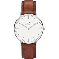 Daniel Wellington Women's Classic St Mawes Leather Strap Watch (115 CAD) ❤ liked on Polyvore featuring jewelry, watches, brown watches, thin wrist watch, brown leather band watches, white strap watches and leather-strap watches