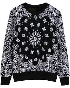 Black Long Sleeve Vintage Cashew Print Sweatshirt - Sheinside.com
