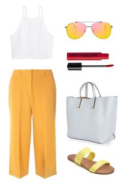White crop top, yellow pants, yellow sandals. Outfit idea for the summer -- wear the monochrome trend without looking crazy.