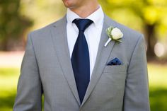 Gray Groom Suit with Navy Tie and Navy Pocket Square