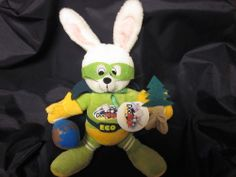 """ECO BUNCH 'O BUNNIES RECYCLE RABBIT PLUSH DOC MAGIC 14"""" EARTH '08 NWT EASTER 99 Cent Auction of the Day: A new with tags  #EcoBunny to the rescue, a stuffed plush made of recycled materials with an environmental message. 02-15-14"""