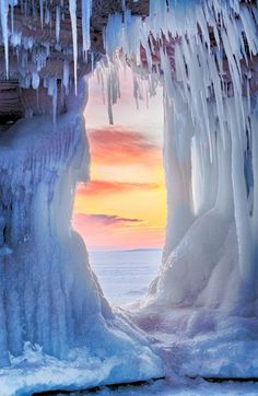 Sunset on Lake Superior from inside ice cave by Al Perry