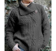 100% Merino Wool Aran Crafts Ladies One Button Long Cardigan Charcoal