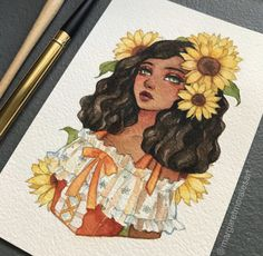 Margaret Morales is a visual designer, painter and watercolor artist from Philippines. Cool Art Drawings, Pencil Art Drawings, Art Drawings Sketches, Girl Drawings, Colorful Drawings, Drawing Girls, Cute Girl Drawing, Art And Illustration, Sunflower Illustration
