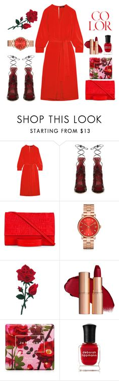 """Flame"" by evalevmar ❤ liked on Polyvore featuring Isabel Marant, Esin Akan, Marc by Marc Jacobs, Jo Malone, Deborah Lippmann, red, coral, dress, rose and isabelmarant"