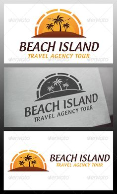 Beach Island Logo Template — Vector EPS #bodybuilding #summer holidays vacations • Available here → https://graphicriver.net/item/beach-island-logo-template/5639392?ref=pxcr