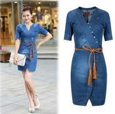 Short sleeve denim wrap dress with buttons.