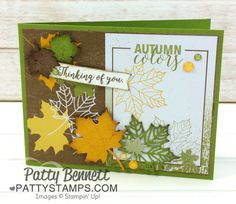 Autumn Colors Fall Card featuring the Stampin' UP! Memories and More Color Theory card pack and the Seasonal Layers leaf thinlit dies! Glitter Enamel dots are the perfect accent.