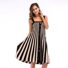 Sosaeg Thin party summer dresses casual striped Dress women clothing Reveal  Back Stripe Knitting Camisole Suit-dress slim-dress. 990eb8174855