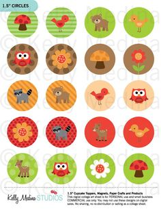 Woodland Animal - Clip Art 1.5 inch Circle Digital Collage Sheet - Commercial use for Cupcake Toppers, Magnets, Paper Crafts and Products