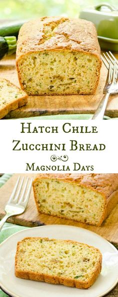 Hatch Chile Zucchini Bread is moist and sweet with a kick of heat. Green vegetables and chile peppers are inside this delectable treat.