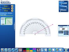 Everyday Mathematics: a good set of virtual tools: a protractor, compass, timer, base 10 blocks, connecting cubes, bucket balance, dice, geoboard, fraction models and more. Super for whiteboard demonstrations.