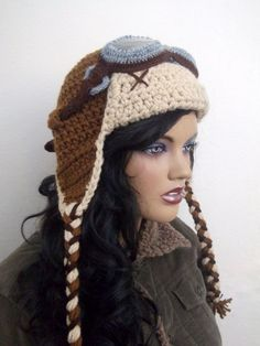 Inspiration for my winter hat....Crochet Aviator Hat Set with Goggles
